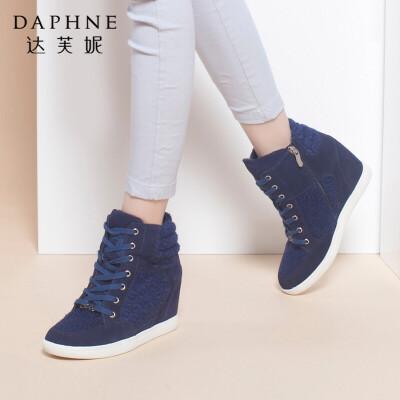 Daphne/达芙妮专柜正品女靴 冬新款甜美侧拉链内增高平底女短靴年末清仓,售罄不补货!
