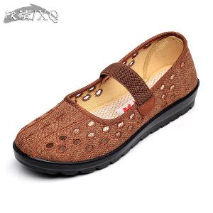 欣清老北京布鞋女网鞋春秋中年女鞋圆头平底单鞋妈妈鞋凉鞋