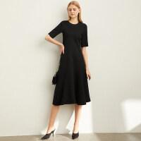 【折后价:169元/再叠300-30元券】Amii极简法式气质中长款A字连衣裙女2019新款裙子收腰显瘦小黑裙