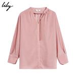 【一口价:229元】 Lily20秋新款女装简约温柔粉色宽松系带上衣雪纺衫119330C8606