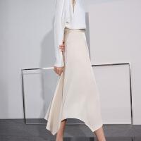 【超值一口价:279】LILY女装时髦铆钉不对称设计过膝半身裙120320C6804