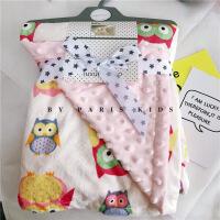 春夏婴儿毛毯宝宝推车盖毯新生儿抱被儿童空调卡通法兰绒豆豆洞毯