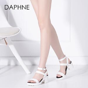 Daphne/达芙妮凉鞋女夏季韩版高跟鞋粗跟简约厚底女鞋一字鞋