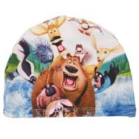 儿童泳帽可爱卡通汽车蜘蛛侠男童女童小孩宝宝熊大游泳布帽