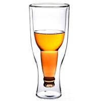 创意啤酒杯玻璃 双层翻转倒置加厚款 350毫升耐热玻璃