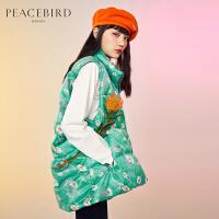 太平鸟绿色羽绒马甲女2019冬季新款小雏菊印花中长款时尚宽松保暖