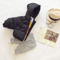 童装儿童男童棉袄冬装加厚女童婴儿羽绒宝宝小童棉衣短款外套 黑色