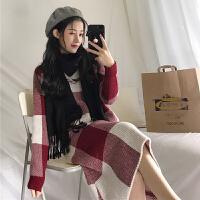 韩版时尚休闲套装秋冬长袖套头格子毛衣外套+半身裙学生两件套女
