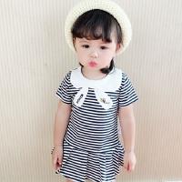 夏装韩版女童黑白条纹连衣裙洋气领结宝宝短袖裙子1-2-3-5岁纯棉