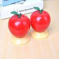 牙签筒自动 时尚创意居家自动蘑菇牙签筒手压式精致塑料牙签盒便携牙签收纳罐 苹果型