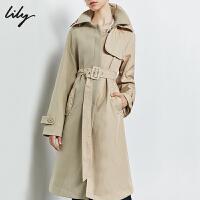【此商品参加新品首降,预估到手价539元】Lily2019秋新款女装浅米咖气质双层领拼接设计中长款系带风衣1922