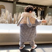 男童睡衣冬季三层夹棉保暖秋冬珊瑚绒法兰绒儿童家居服