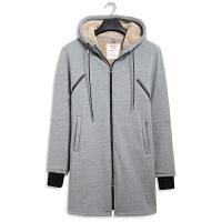 秋冬季羊羔绒卫衣男连帽开衫中长款加绒加厚保暖长袖外套风衣大衣 麻灰