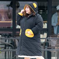 新款大码女装冬装过膝洗水棉中长款棉衣连帽拉链加厚保暖外套 黑色