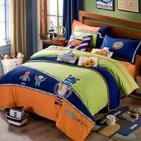 家纺全棉套件床上用品三件套纯棉儿童卡通绣花四件1.2米床1.5m套男孩 机器家族