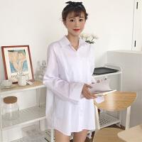 春季新款女装纯色百搭宽松显瘦中长款学生长袖白色衬衫开衫外套女
