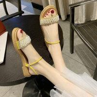 户外百搭配裙子的凉鞋女仙女风时尚两穿平底晚晚拖鞋外穿