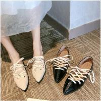 单鞋女抖音同款绑带尖头平底晚晚鞋子网红百搭浅口配裙子的休闲鞋