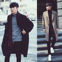 韩版羊绒大衣男中长款青年宽松帅气卡其色风衣男秋季长款过膝外套