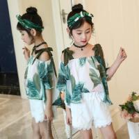 女童夏季套装2018新款韩版中大童雪纺衬衣+蕾丝短裤宝宝两件套装