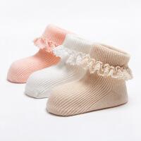 珈楚 春秋季全棉花边宝宝袜子 纯棉防滑婴儿袜 女童双针纯色韩国公主袜 三双