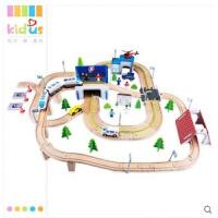 轨道电动高铁小火车头积木质女孩轨道车套装组3-6岁男孩玩具 送手推小汽车+电池+螺丝刀