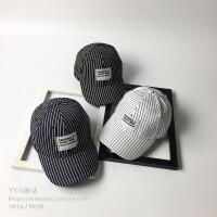 帽子女春夏条纹时尚韩版条纹棒球帽男个性百搭休闲弯檐帽潮鸭舌帽