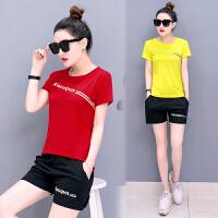 运动套装女夏季2018新款韩版潮时尚跑步服短袖短裤宽松休闲两件套