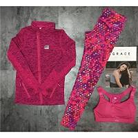 秋冬新款女子跑步运动健身服瑜伽服显瘦速干长袖三件套装