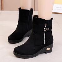 冬季老北京布鞋女靴子加�q保暖坡跟短靴女鞋����棉鞋厚底防滑棉靴