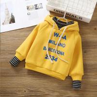 儿童卫衣 假两件上衣2021春秋冬季新款高领韩版潮流抓绒保暖运动男女童外套打底衫