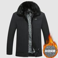中年男士冬装棉衣外套中老年加绒加厚爸爸装毛领保暖上衣棉袄 黑色