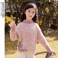 女童毛衣新款秋冬上衣套�^中大�和�加�q打底衫