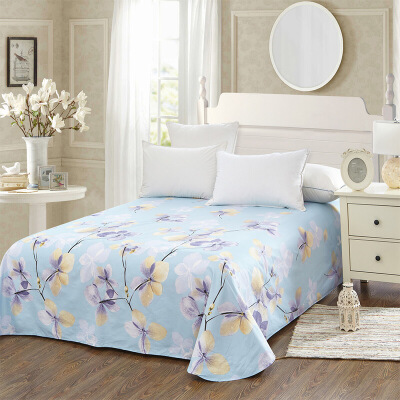 当当优品 纯棉斜纹床上用品 床单250*230cm 恬静优雅(蓝)当当自营 100%纯棉 不易褪色 0甲醛 透气防潮 大尺寸
