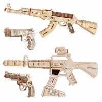 手枪系列儿童益智木制拼图玩具DIY手工拼装 木质3D立体模型