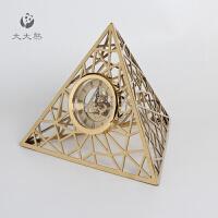 新款家居饰品欧式简约现代三角形不锈钢时钟摆台软装样板房摆件