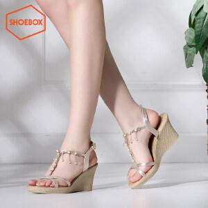 达芙妮旗下SHOEBOX/鞋柜时尚淑女气质坡跟女凉鞋