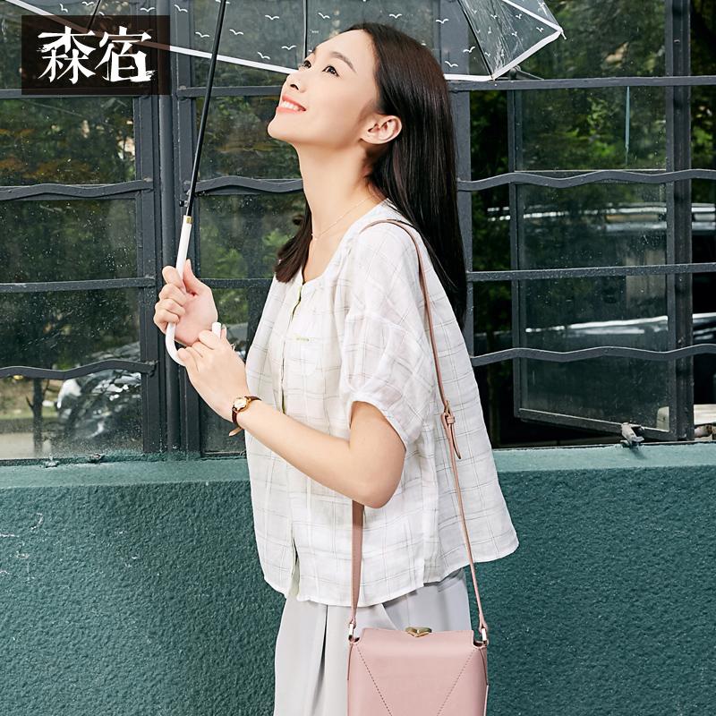 森宿夏装女宽松文艺蝙蝠袖麻料衬衣高腰格子白衬衫女短袖