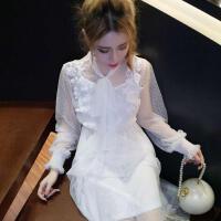 甜美蕾丝花边网纱绑带蝴蝶结连衣裙十吊带裙子娇小女装 时髦套装