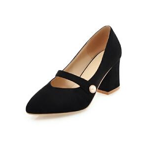 ELEISE美国艾蕾莎新品152-814韩版磨砂绒面高跟粗跟女士单鞋