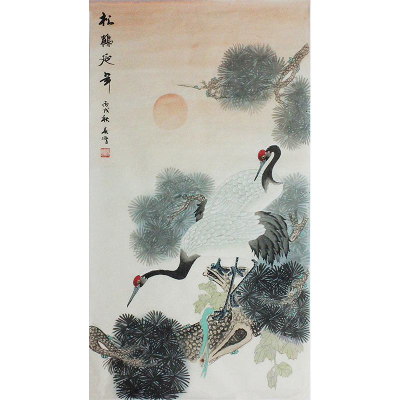 活画泰斗 国礼艺术家吴增 松鹤延年 夜显财神