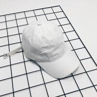 白色破洞弯檐帽子男潮人街头个性百搭鸭舌帽学生防晒棒球帽女