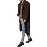 2017秋冬新款韩版毛呢大衣男宽松过膝羊绒外套青年中长款呢子风衣