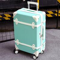 行李箱女拉杆箱万向轮24寸小清新密码箱可爱韩版大学生复古旅行箱 浅绿色 单箱(拆卸皮带)