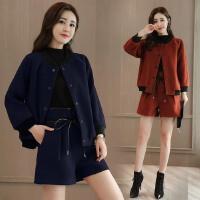 秋冬装新款韩版时尚休闲短外套+短裤两件套时髦矮小个子套装
