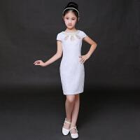儿童礼服公主裙中式蕾丝钢琴古筝演出服夏季女童旗袍裙中国风短袖