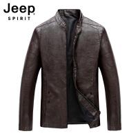 Jeep吉普男士秋冬立领皮衣夹克加绒款薄款青年工装拉链开衫