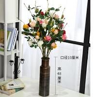 假玫瑰花花束白仿真花假花塑料仿真布花装饰客厅落地办公室朔料花 混色4把12支+花瓶 12支4把+花瓶