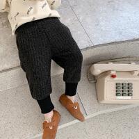 童装男童加绒运动裤冬装宝宝毛线裤