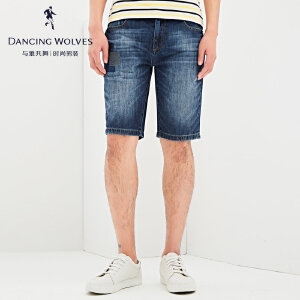与狼共舞牛仔短裤  2017夏季新款男士直筒牛仔五分裤4301